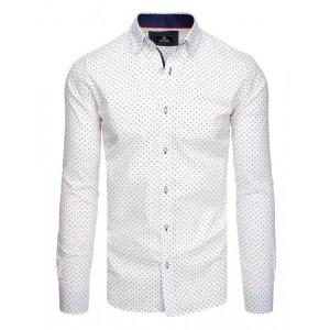 Spoločenská pánska biela slim fit košeľa s dlhým rukávom