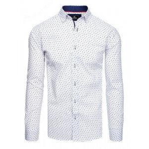 Štýlová pánska biela slim fit košeľa s dlhým rukávom