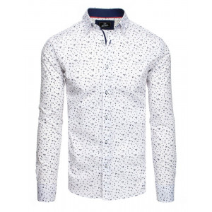 Spoločenská pánska biela slim košeľa s jemným vzorom