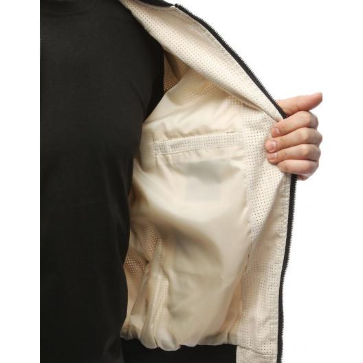 Moderná pánska béžová bomber bunda na jeseň