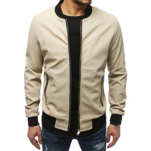 Béžová pánska kožená bunda na zips s čiernym lemovaním