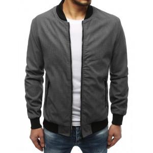 Sivá pánska prechodná bunda na zips a vreckami