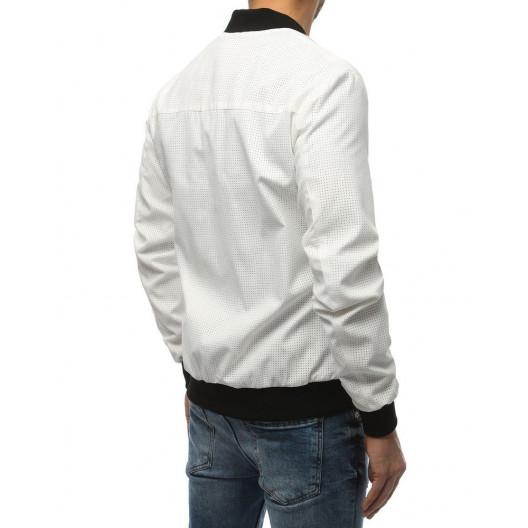Originálna pánska biela bomber prechodná bunda na zips