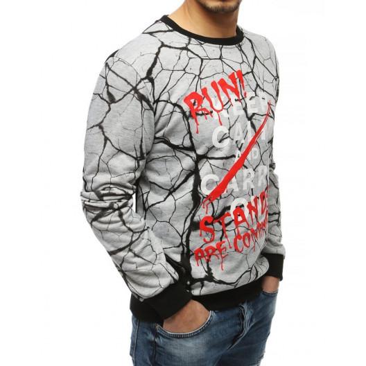 Trendy pánska sivá mikina s designovou potlačou a nápisom