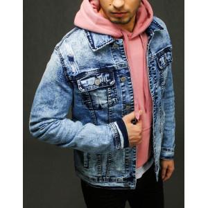 Trendy pánska modrá rifľová bunda s módnou potlačou