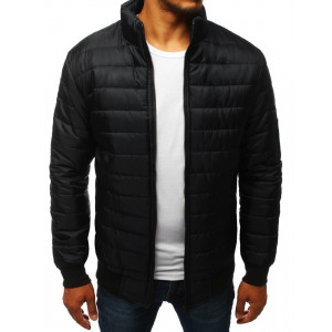 Moderná pánska čierna prešívaná bunda so stojatým golierom