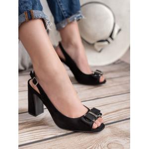 Dámske čierne sandále na vysokom opätku s mašličkou