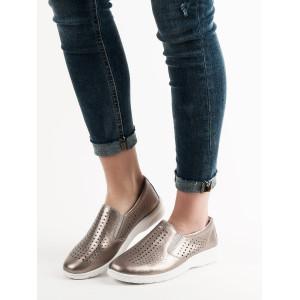 Hnedo zlaté dámske slip on jarné topánky