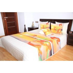 Biely prehoz na posteľ s oranžovými kvetmi