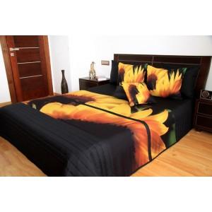 Prehoz na posteľ so vzorom rozkvitnutej slnečnice