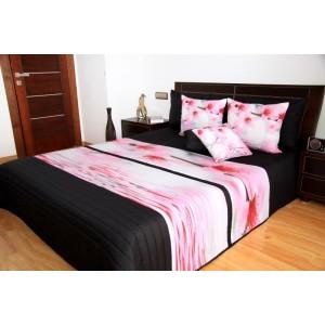 Čierny prehoz na posteľ s ružovými kvetmi