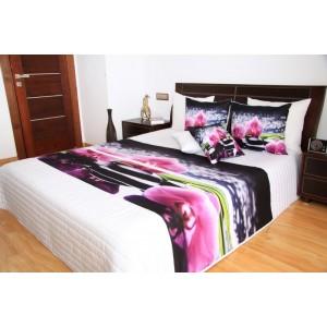Prehoz na posteľ s obliečkami na vankúše ružová orchidea