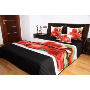 Čierny prehoz na posteľ s červenými ružami