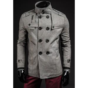 Jesenný pánsky kabát sivej farby