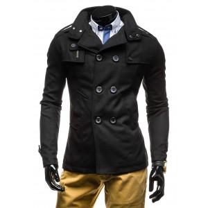Jesenný pánsky kabát čiernej farby