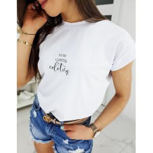 Štýlové biele dámske tričko s krátkym rukávom