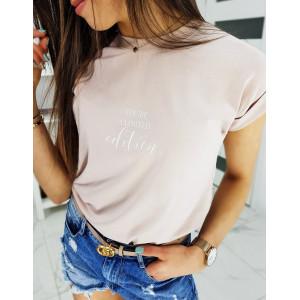 Púdrovo ružové dámske tričko s krátkym rukávom a nápisom