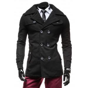 Elegantný čierny pánsky kabát