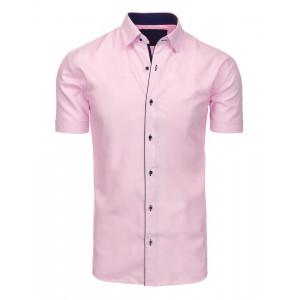 Moderná pánska ružová košeľa s krátkym rukávom