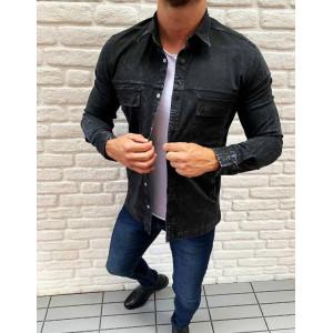 Rifľová pánska košeľa v čiernej farbe s dlhým rukávom