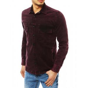Moderná pánska košeľa s dlhým rukávom v bordovej farbe