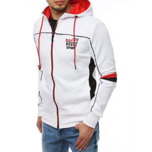 Originálna biela pánska bunda na zips s kapucňou