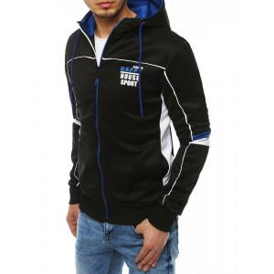 Trendy čierna pánska bunda na zips s kapucňou