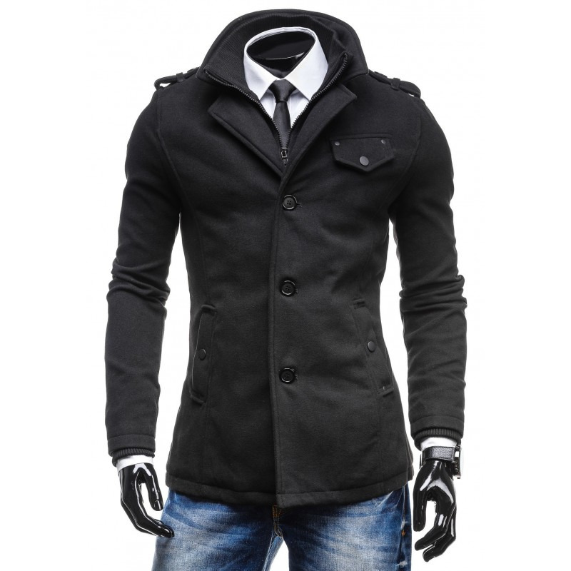 Predchádzajúci. Zimný pánsky čierny kabát ... 253d10b517d