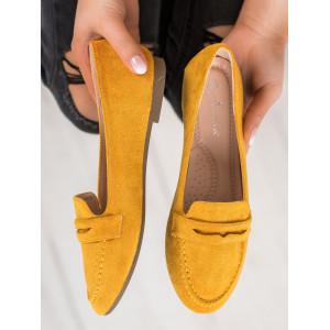 Letné dámske semišové mokasíny v žltej farbe