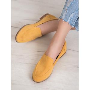 Semišové originálne dámske mokasíny v žltej farbe