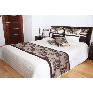 Biely prehoz na posteľ s hnedými ornamentami