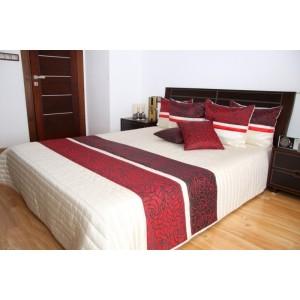 Biely prehoz na posteľ s motívom červených kvetov