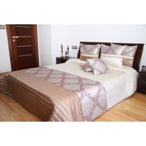 Elegantný krémový prehoz na posteľ s ornamentom