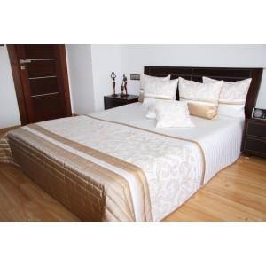 Elegantný biely prehoz na posteľ s ornamentom