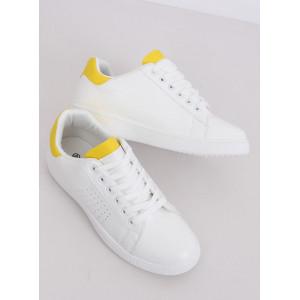 Štýlové dámske biele tenisky v kombinácii so žltou farbou