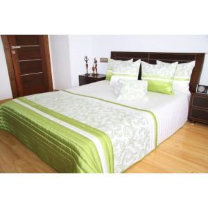 Biely prehoz na posteľ so zeleným ornamentom