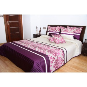 Elegantný prehoz na posteľ s ružovým ornamentom