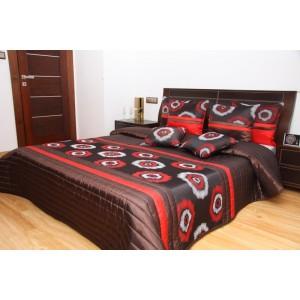 Hnedý prehoz na posteľ s kruhmi