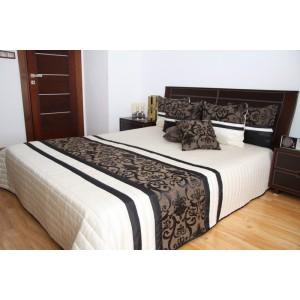 Kremový prehoz na posteľ s čierným ornamentom