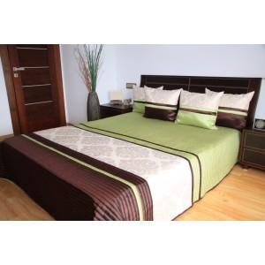 Zeleno-hnedý prehoz na posteľ s motívom