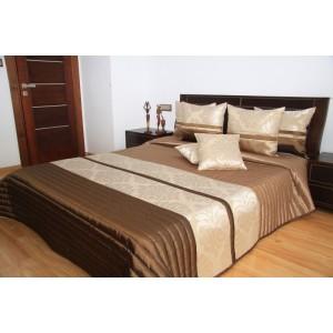 Hnedý prehoz na posteľ s ornamentom