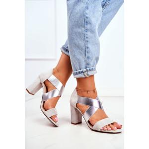 Letné sivo strieborné dámske sandále na vysokom opätku