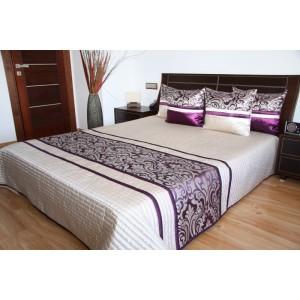 Kremový prešívaný prehoz na posteľ  s ornamentom