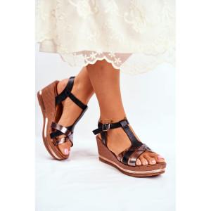 Čierne dámske letné sandále na platforme