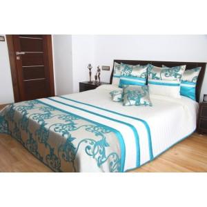 Biely prehoz na posteľ s tyrkysovými ornamentami