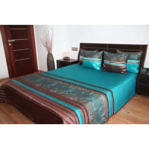 Tyrkysovo-hnedý prehoz na posteľ