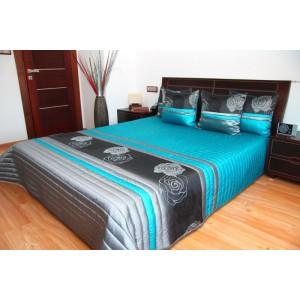 Moderný tyrkysový prehoz na posteľ