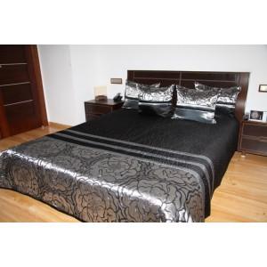 Čierno-strieborný prehoz na posteľ