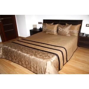 Zlatý prehoz na posteľ s ornamentami