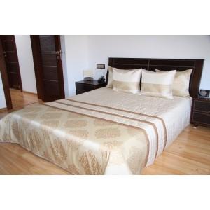 Kremovo-zlatý prehoz na manželskú posteľ
